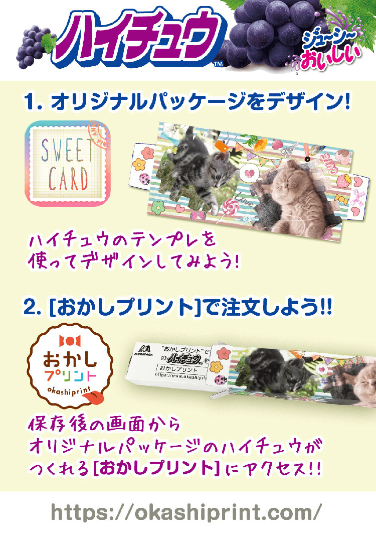 「SweetCard」でパッケージのデザインを行い「おかしプリント」で注文
